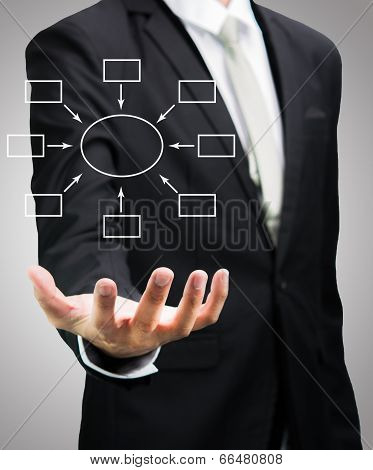 Businessman Standing Posture Hand Holding Strategy Flowchart Isolated