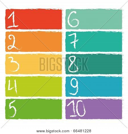 Set of ten colorful numerical rectangles