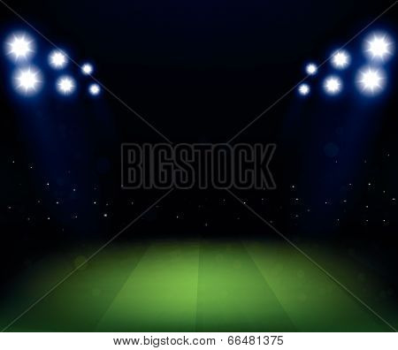 Football Stadium at night with spotlight