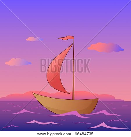 Ship floats in the sea