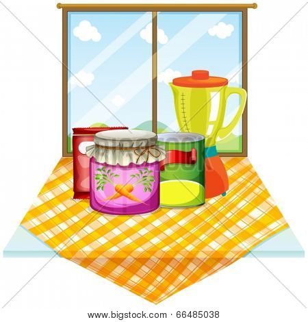 Illustration of a table near the window with foods inside the containers on a white background