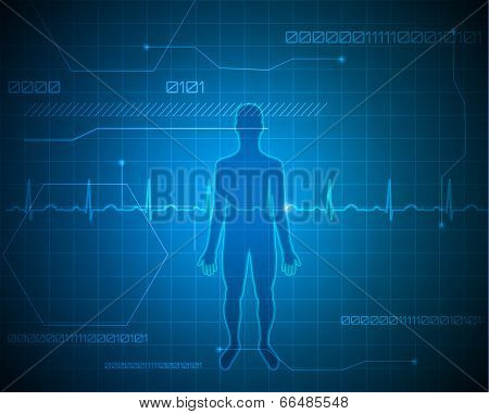 Human Silhouette Abstract Blue Technology Background