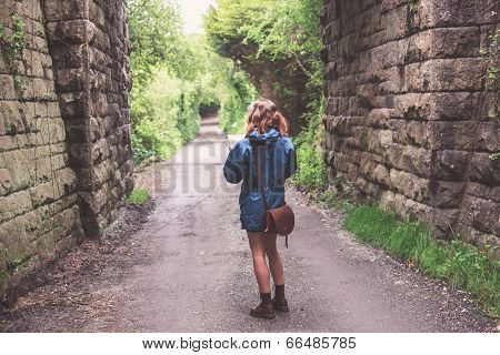 Young Woman Lost In Forest