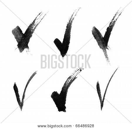 Set of Hand Drawn V signs