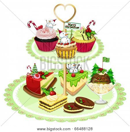 Illustration of the baked goods arranged in the tray on a white background