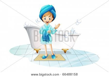 Illustration of a happy girl wearing a blue robe and a blue shower cap on a white background