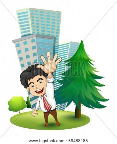 Illustration of a happy businessman near the pine tree on a white background