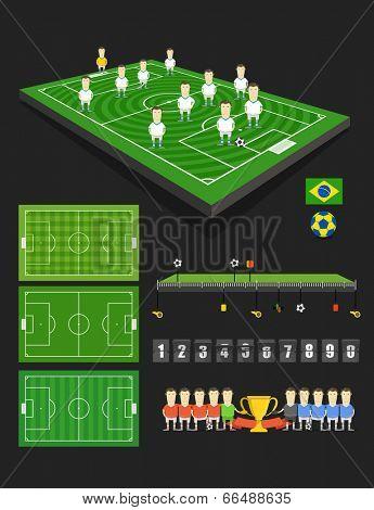 Soccer match infographic elements. Flat design