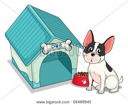 Illustration of a dog sitting in front of the blue doghouse on a white background