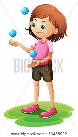 Illustration of a girl juggling on a white background