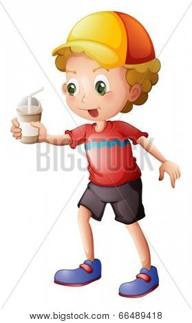 Illustration of a boy with a disposable glass on a white background