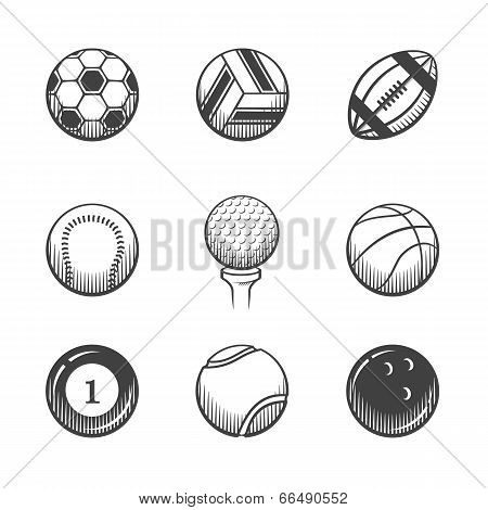 Collection of sport  balls icons.