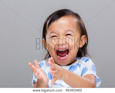 Happy girl clap hand