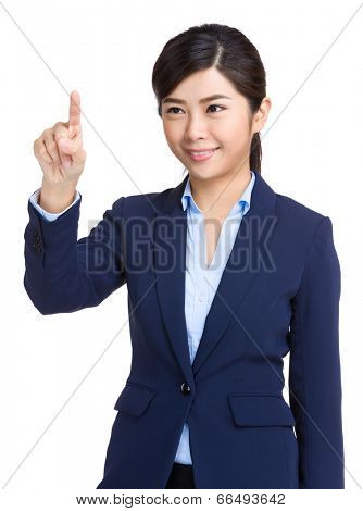 Business woman touch screen