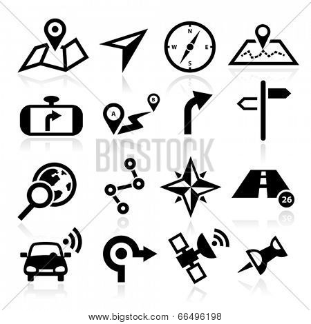 Collection of vector navigation icons - maps, location, GPS.