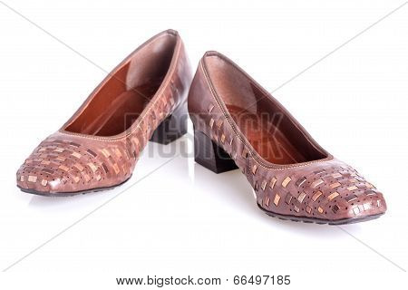 Pair Of Brown Woman's Shoes Isolated On A White Background