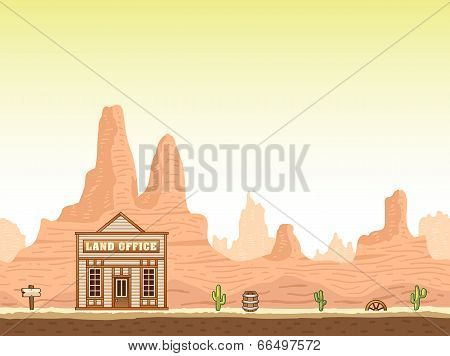 Wild, old west canyon background with land office