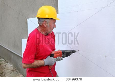 Construction Site, Styrofoam Insulation Drill For Anchor