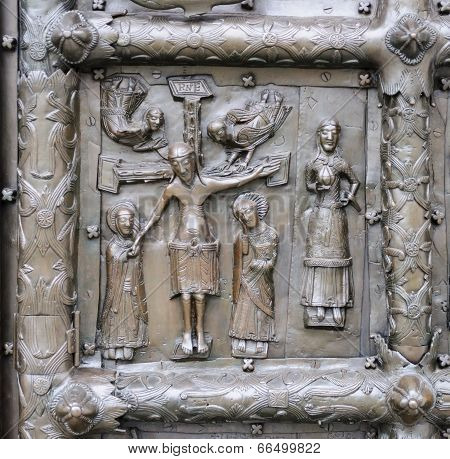Bas-relief With Jesus Christ On Ancient Bronze Gate In Veliky Novgorod