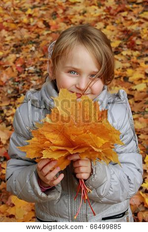 Little Girl With Leaves