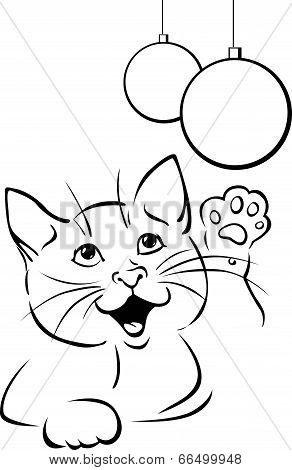 Vector Cat Playing With Xmas Ball - Black Outline Illustration