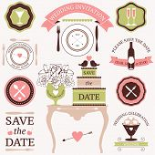 stock photo of dinner invitation  - Vector collection of decorative wedding dinner elements - JPG