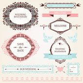 stock photo of boutonniere  - Vintage collection of Vector wedding design elements - JPG