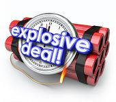 stock photo of time-bomb  - Explosive Deals ticking time bomb with clock and dynamite shopping at a special sale - JPG