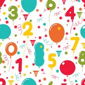 stock photo of conic  - Seamless pattern of colorful birthday party balloons with the numbers 0 through 9 scattered amongst stars  streamers and conical party hats for a festive celebration  square format vector illustration - JPG