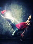 picture of break-dance  - Stylish man dancer showing break - JPG