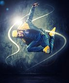 stock photo of break-dance  - Stylish man dancer showing break - JPG