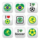 image of offside  - Soccer ball with flag of Brazil vector buttons set isolated on white - JPG