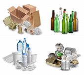 pic of discard  - Samples of trash for recycling isolated on white background - JPG