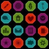 stock photo of octagon shape  - Buttons set with various icons octagon shape - JPG