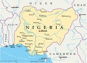 picture of nigeria  - Political map of Nigeria with capital Abuja - JPG