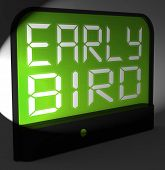 picture of punctuality  - Early Bird Digital Clock Showing Punctuality Or Ahead Of Schedule - JPG