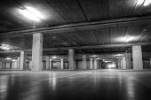 picture of garage  - Parking Garage at the Airport in Black and White - JPG