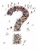 stock photo of punctuation  - Large group of people with questions - JPG