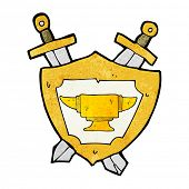 stock photo of anvil  - cartoon blacksmith anvil heraldry symbol - JPG