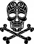 stock photo of skull crossbones  - black white ornamental tattoo skull and crossbones - JPG