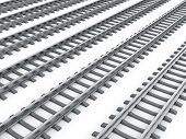 foto of divergent  - 3d render of railways isolated on white background - JPG
