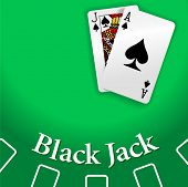 pic of ace spades  - Black Jack and Ace of Spades playing cards on Blackjack game table copy - JPG