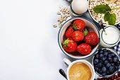 stock photo of milk glass  - Healthy breakfast  - JPG