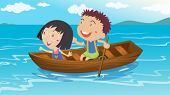 stock photo of playmate  - Illustration of a boy and a girl boating - JPG