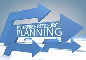 stock photo of enterprise  - Enterprise Resource Planning 3d render concept with blue arrows on a bluegrey background - JPG
