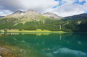 image of engadine  - Lake Silvaplana in the Swiss Alps - JPG