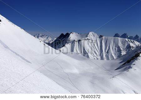 View On Snowy Off Piste Slope With Trace From Avalanche