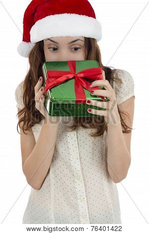 Christmas Woman Looking Into Gift Box
