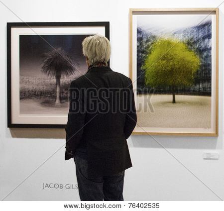 People Looking at a photo of Jacob Gils at Fotofever, Paris, France, 2014