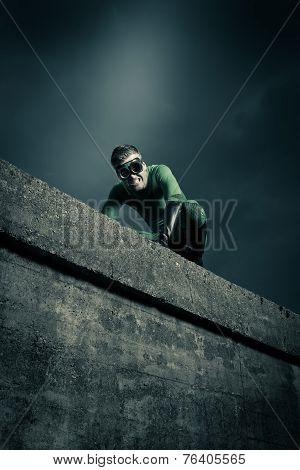 Superhero Escaping Danger
